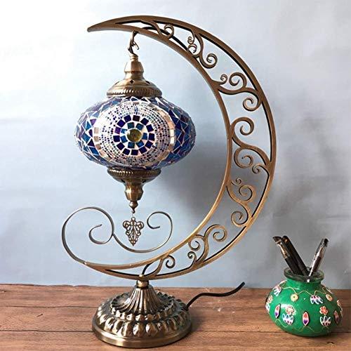 QPLKL Lámpara Vintage Estilo étnico Habitación Sala Comedor lámpara Ccafe Hotel Hecho a Mano Mosaico de Vidrio Tabla Luna turca Lámpara de Escritorio