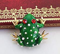 BEOCHT New Cute Animal Brooches Enamel Spots White Frog Costume Coat Pin Brooch