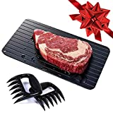 Lightning Fast Defrosting Tray with Two Meat Claws (LARGEST SIZE - 14 inches) Gifts For Men, BBQ Kitchen Tools, Gifts For Dad, Gifts For Men Who Have Everything