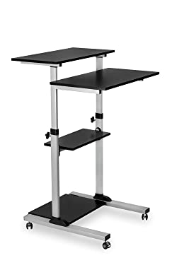 Mount-It! Mobile Standing Desk/Height Adjustable Stand Up Computer Work Station | Rolling Presentation Cart with 27.5 Inch Wide Platform, Locking Wheels