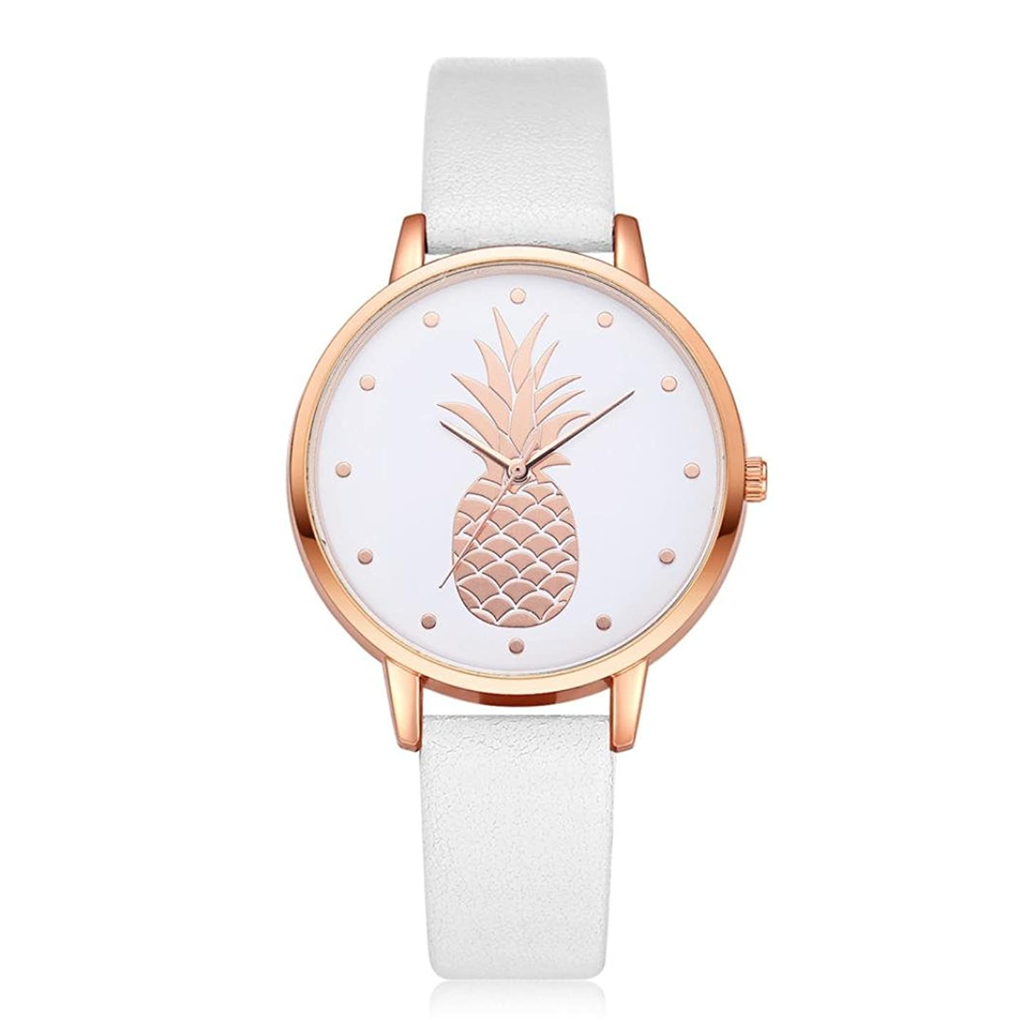 Swyss Women's Simple Fashion Watch Cute Pineapple Pattern Dial Leather Analog Quartz Wrist Watch Chic Sweet Style (E)