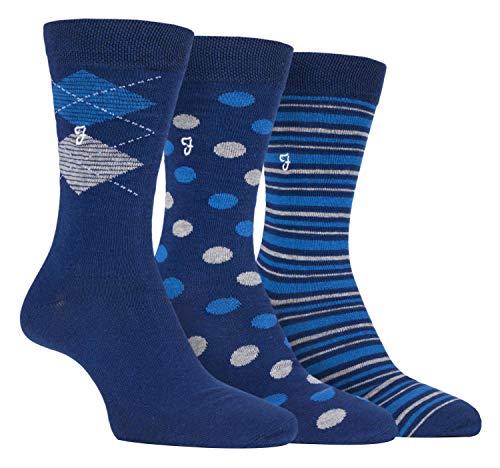 FARAH® - 3er Pack Herren Baumwolle Reine Qualität Gestreift Muster Socken mit Geschenkbox (39/45, CS154NVY)