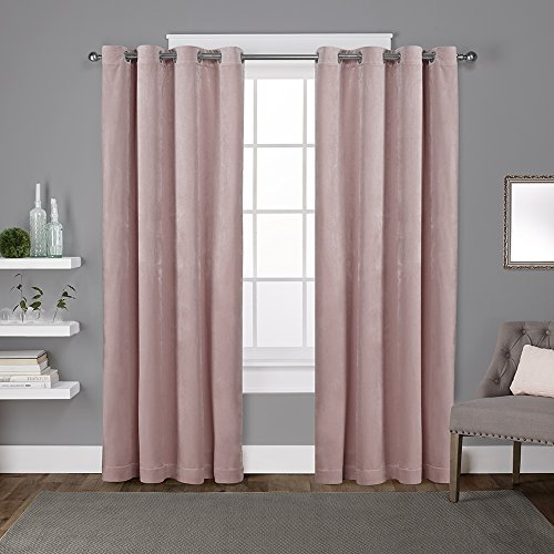Exclusive Home Curtains Velvet Heavyweight Grommet Top Curtain Panel Pair, 54x84, Blush, 2 Piece