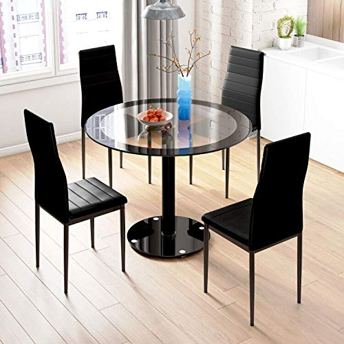 Beliwin Round Glass Dining Table and Chairs Set of 4, Black Transparent Table and High Back Faux Leather Chairs In Kitchen and Living Room