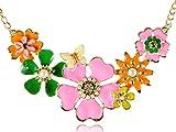 ALILANG Damen Emaille Bunte Statement Blume Gold Big Bib Garden Kragen Faux Perlen Kette