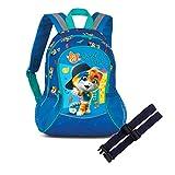 EL BURRO 44 CatS Set Kinder Rucksack mit Netztaschen + Brustgurt GURTIES blau + pink (Blau)