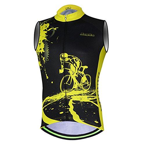 Aogda Cycling Jersey Sleeveless Shirts Men Bike Vest Clothing Team Biking Tops Tight (Black X-Large)