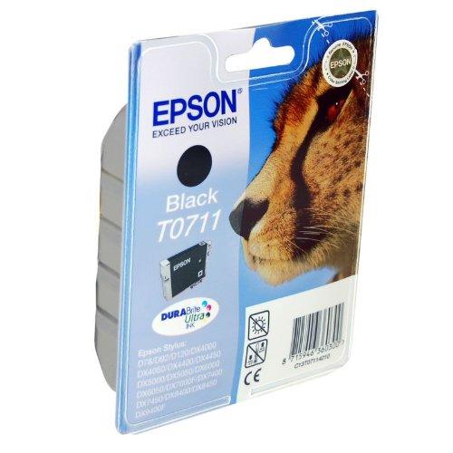 Epson Cartucho de tinta Black T0711DURABrite Ultra Ink–Cartucho de tinta para impresoras (negro, Epson D78/DX4000/4050/5000/5050/6000/605, Inyección de tinta)