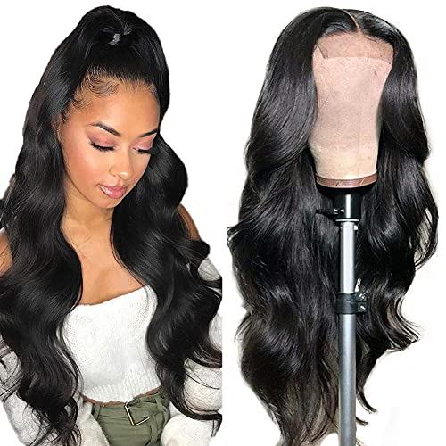 Lace Front Wigs Human Hair for Black Women Pre Plucked Hairline with Baby Hair 150% Denisty Brazilian Body Wave Wigs Natural Color 18 inch 4x4 Body Wave