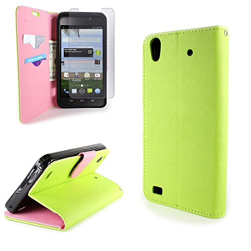 ZTE Quartz Wallet Phone Case and Screen Protector | CoverON (CarryAll) Pouch Series | Tough Textured Exterior (Neon Green / Light Pink) Flip Stand Cover with Credit Card and Cash Holder Slots for ZTE Quartz Z797C