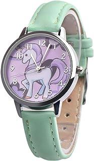 Hemobllo Unicorn Watch Waterproof Quartz Wrist Watch Children Watch Wrist Time Device with Leather Bands Birthday Kids (Green)
