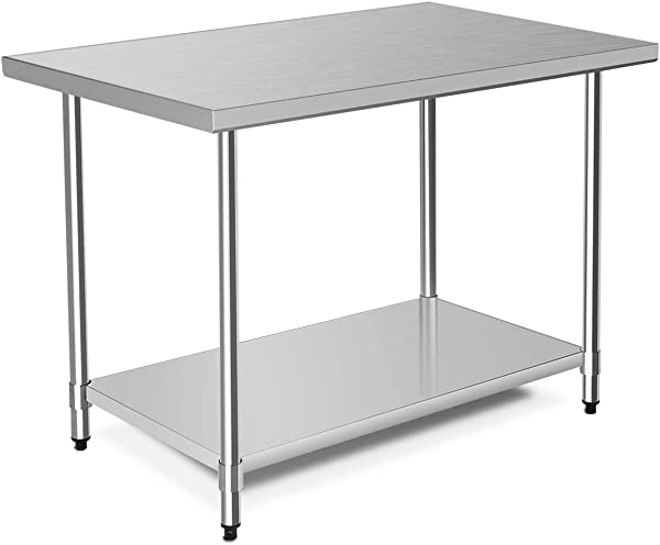 WATERJOY 48 X 30 NSF Stainless Steel Table Heavy Duty Commercial Kitchen Food Prep Table Wheels Installable Adjustable Shelf