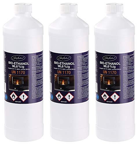 Carlo Milano Ethanol Flasche: Bio-Ethanol/Bio-Alkohol f. Deko-Kamine, 3X 1 l,TÜV-Süd-Zertifiziert (geruchsneutrale Bio-Ethanol)