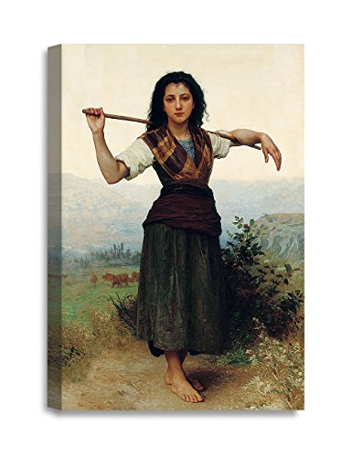 DECORARTS - The Shepherdess by William-Adolphe Bouguereau, The World Classic Art Reproductions. Giclee Canvas Prints Wall Art for Home Decor 36x24 x1.5