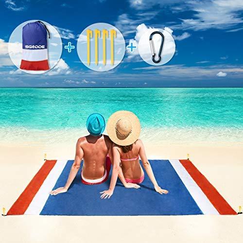 SGODDE Alfombra de Playa Esterilla Toalla, 210x200cm Manta Picnic Impermeable Grande, 210T Manta de Playa de Poliéster Antiarena Impermeable con 4 Estaca Fijos,para Playa,Camping,Picnic,Piscina
