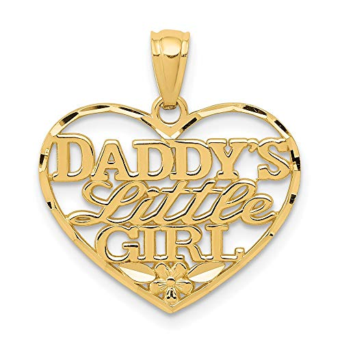 14k Yellow Gold Daddys Little Girl Heart Pendant Charm Necklace Love S/love Message Fine Jewelry For Women Gifts For Her