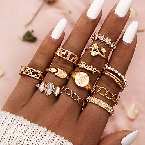 Flrora Boho Crystal Finger Ring Set Gold Flower Carved Joint Knuckle Rings Star Chain Rings Fashion Stackable Ring Set Jewelry Accessories for Women and Girls(12 pcs)