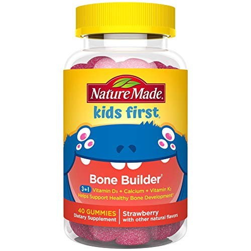 Nature Made Kids First Bone Builder with Calcium 200 mg, Vitamin D3 350 IU, and Vitamin K2 45 mcg, 40 Count to Help Support Healthy Bone Development