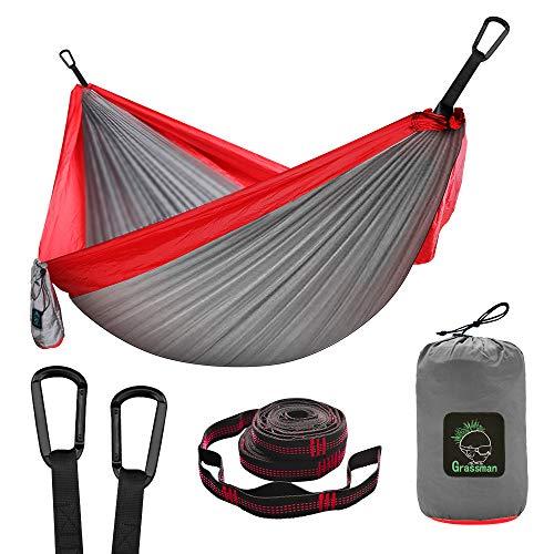 Hamaca doble e individual portátil hamaca con correas de árbol, ligera de nailon, paracaídas, hamacas, camping, accesorios para interiores al aire libre