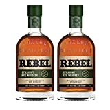 Whisky Rebel Yell Straight Rye Whiskey de 70 cl - Elaborado en EEUU - Qantima Group (Pack de 2 botellas)