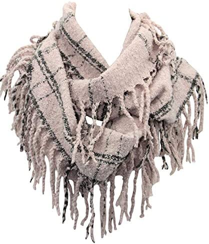Gifts For Her Plaid Infinity Scarf with Fringe Fashion Colorful Lumberjack Unisex Scarf Soft product image