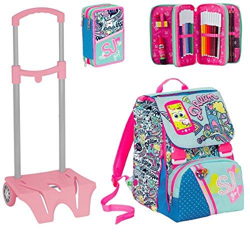 Zaino scuola sdoppiabile SJ GANG + Easy Trolley + ASTUCCIO - GIRL - Azzurro Rosa - FLIP SYSTEM - 28 LT elementari e medie 3 pattine sfogliabili