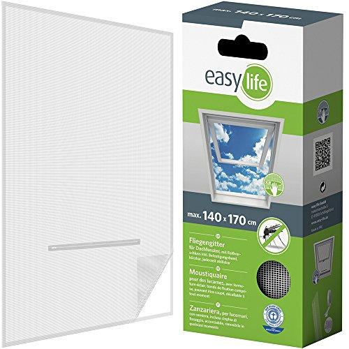easy life Fliegengitter für Dachfenster 140 x 170 cm in weiß Eingriff mit Reißverschluss - auch in anthrazit wählbar
