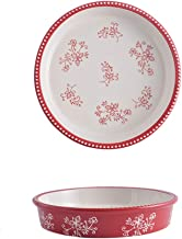 Ceramic Pie Pan, 9 Inch Heat-Resistant Pie Dish, Non-Stick Pie Plate with Hand Painted Flower Design Safe for Dishwasher, ...