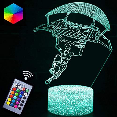 Gliding Nachtlicht Lampen, 3D Vision-Effekt, LED-Nachtlicht, Geschenk für Fernbedienung & RGB-Farben-Display für Kinder, Jungen, Mädchen, Geburtstag, Weihnachten (Figur gleitend)