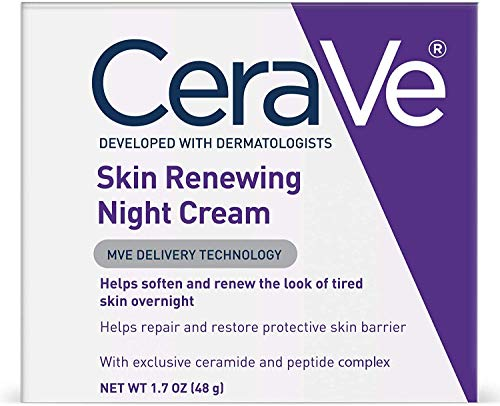 CeraVe Night Cream for Face | 1.7 Ounce | Skin Renewing Night Cream with Hyaluronic Acid &...