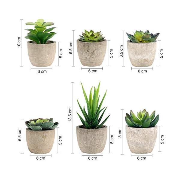GoMaihe Plantas Suculentas Artificiales, 6 Piezas, Planta Artificial Decorativa, Adecuado para El Hogar Oficina…