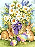 Realover DIY Full Drill Diamond Painting,Easter Bunny Eggs Gift Mosaic Set Home Wall Decoration Crafts Supply(Square 40×50cm)