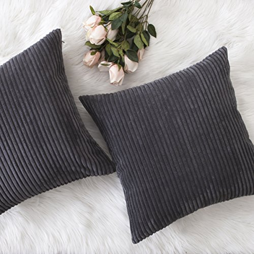 Home Brilliant Spring Summer Decor Soft Striped Corduroy Square Deocative Throw Pillow Sofa Cushion Covers Set for Couch, 2 Pack, 18x18 inch (45cm), Dark Grey