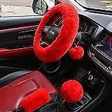 Valleycomfy 4PCS Set Fluffy Steering Wheel Cover with Handbrake...