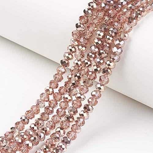 Cheriswelry 10 hebras de cuentas de cristal facetado de 6 x 5 mm, cobre galvanizado ábaco para joyería, collares, pulseras, manualidades, LightCoral