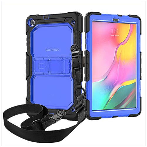DUDUCHUN Samsung Galaxy Tab A 10.1 2019 Case, for SM-T510/T515/T518 2019 Resistant Protective Shockproof Full-Body Rugged Hard PC Silicone Case with Shoulder Strap/Kickstand,F