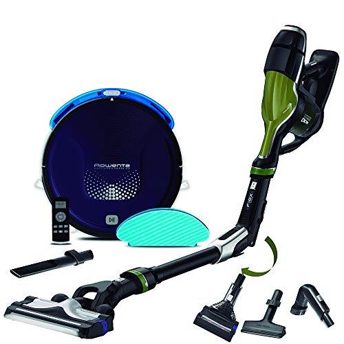 Rowenta Smart Force Explorer Aqua RR6871WH - Robot Aspirador 2 en 1, aspira y friega + Rowenta Air Force 440 RH9202ES Aspiradora de Mano sin Cable con Tubo Flexible