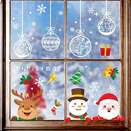 Yitla Weihnachtsdeko Fenster Doppelseitiges Muster,218Fensterbilder Weihnachten Selbstklebend, Weihnachten Fenstersticker für Weihnachten Winter Dekoration (7 Sheets)