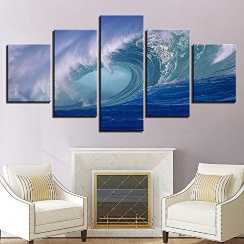 jzxjzx Frameless decoratief schilderij, inkjet, vijf zeegezicht, avond landschap, canvas schilderij