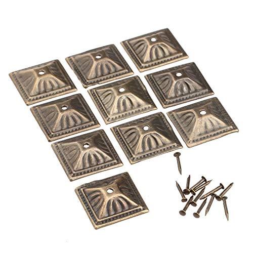 Zent 10 Sets Uñas de tapicería cuadradas Vintage Caja de joyería de Hierro de Bronce Antiguo Caja Sofá Puerta Tachuela Espárrago Decoración