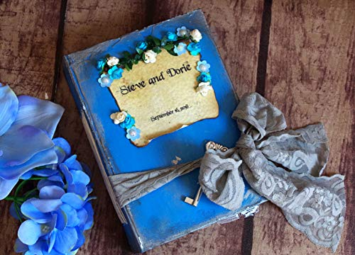 Blue and Silver Vintage Guest Book - Fairy Tale Wedding Guestbook - Scrapbook - Alice in Wonderland - Cinderella Book - Shabby chic - Made to order in any colors