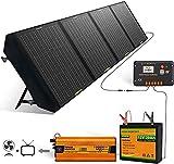 ECO-WORTHY 120W Kit completo de panel solar portátil 30Ah Batería de litio 30A Controlador Genera 500WH / DÍA Generador solar Camping al aire libre Viaje Emergencia