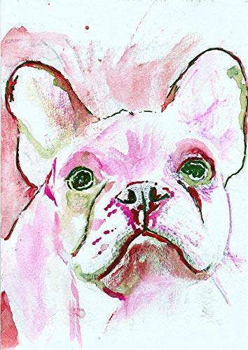 French Bulldog Wall Art Print, Pink Watercolor, Frenchie Owner Gift, Dog Memorial, Colorful Frenchy Painting Decor Gift For Her Choice Of Sizes Hand Signed By Pet Portrait Artist Oscar Jetson