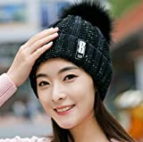 Sombrero de Lana Femenino Invierno Moda Coreana Moda Gorra de Bola de Piel Salvaje protección auditiva Gruesa Ciclismo Sombrero de Punto cálido