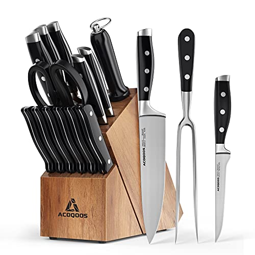 Kitchen Knife Set with Block 17 Pieces, Knife Block Set with Boning Knife and Carving Fork, Manual Sharpening for Chef Knife Set, German Stainless Steel, Full-Tang Design, Acoqoos