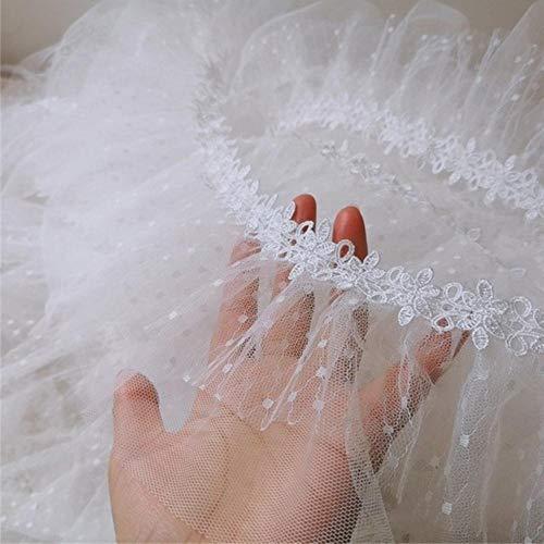 NIEUWE Crumple Mesh Gaas Wateroplosbare Lint Witte Tule Kant DIY Dames Kinderkleding Rok Trim Trouwjurk Decoratie, wit, 1 yard