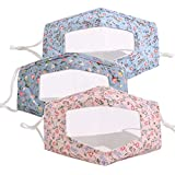 Fashion Floral Print Resuable Clear Cloth Mask Face Coverings with Clear Mouth Window Visible Expression Lip Reading for The Deaf and Hard of Hearing (Style 04(3 Pack))