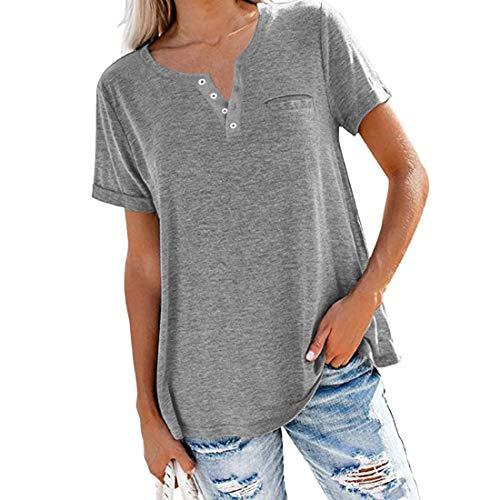 Túnicas de manga corta para mujer Camisas Blusa con botones para mujer Tops casuales de verano túnica suelta de manga larga de manga corta de verano para mujer Camiseta lisa con cuello en V y bolsillo
