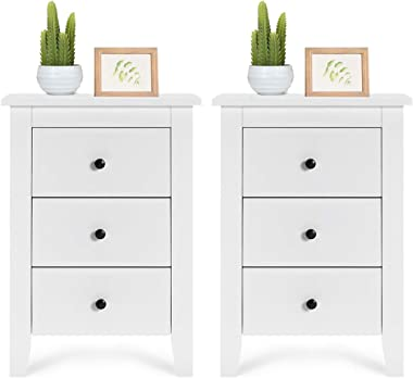 Giantex Nightstand W/ 3 Drawers Large Storage Space, Solid Structure and Stable Frame, Elegant Appearance, Suitable for Bedro