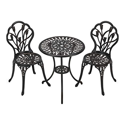 Laurel Canyon 3-Piece Cast Aluminum Outdoor Furniture Patio Bistro Sets with Antique Copper Finish Small Round Table and 2 Chairs for Porch, Lawn, Garden, Backyard, Pool, Bronze